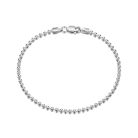 Amberta 925 Sterling Silver 2 mm Ball Chain Bracelet Size: 7 7.5 inch (7inch) - Collana Diamante Brillante Ciondolo Pendente Collana