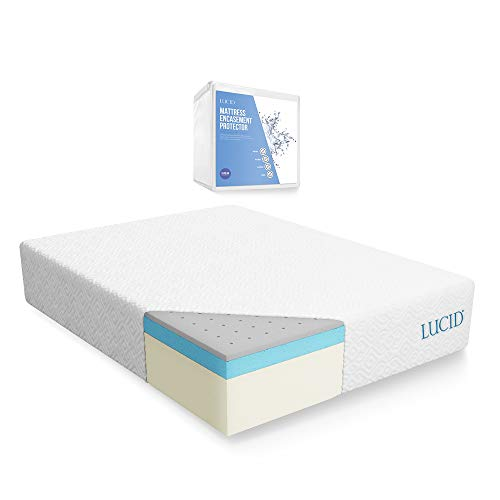 LUCID 14 Inch Memory Foam Mattress - Triple-Layer - 5.3 Poun