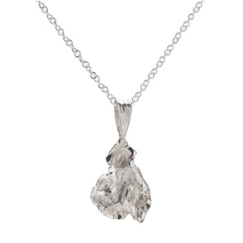(Sterling Silver Small Nugget Pendant Necklace, 18
