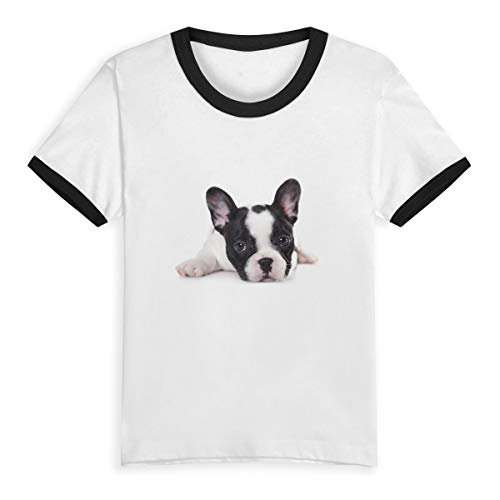 LETE Toddler Baby Girls Boys for Short Sleeve Cotton T-Shirt Baseball Jersey, Sweet Pet Cute Black White French Bulldog Puppy