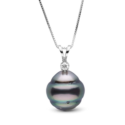 Harmony Collection 10.0-11.0 mm Tahitian Baroque Cultured Pearl & Diamond Pendant - White Gold - 16 Inch