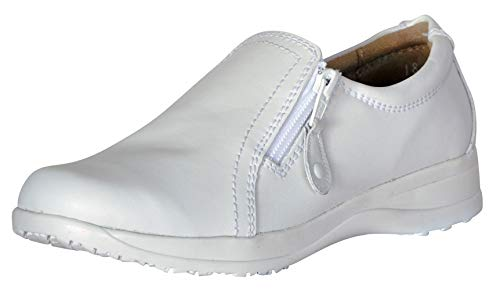 (Dr. Scholl's Comfort Women Shoes Genuine Leather Memory Foam White Loafer (8.5))