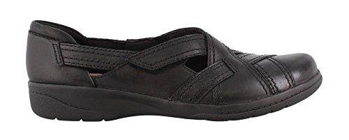 CLARKS Women's Cheyn Wale Loafer, Black Leather, 9.5 Narrow