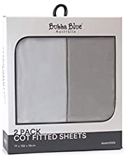 Bubba Blue Everyday Essentials Cot Fitted Sheet 2 Piece Set, White/Grey, 2 piece