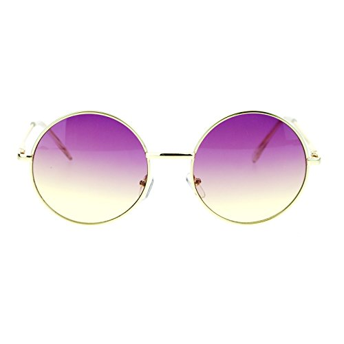 2 Tone Color Lens Retro Vintage Style Round Circle Hippie Groovy Sunglasses