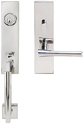 Left Hand Champagne Lever - INOX NY214C563-32-LH NY Handleset, Tubular, Champagne Lever Entry, 2-3/8 Inch Backset, Left Hand, Polished Stainless Steel