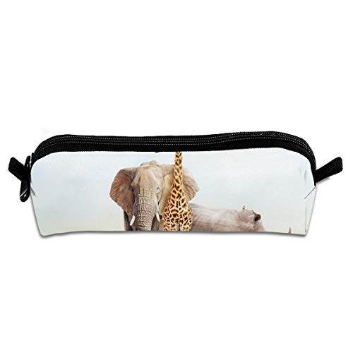 EQAZV Kenya Animals Students Canvas Pencil Case Pen Bag Pouch Stationary Case
