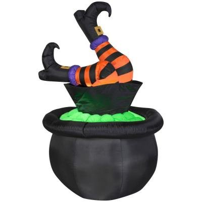 [Halloween 5ft. Animated Inflatable Witch Legs in Cauldron] (Animated Witch)