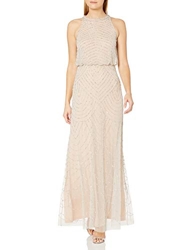 Adrianna Papell Women's Halter Art Deco Beaded Blouson Dress, Silver/Nude, 8