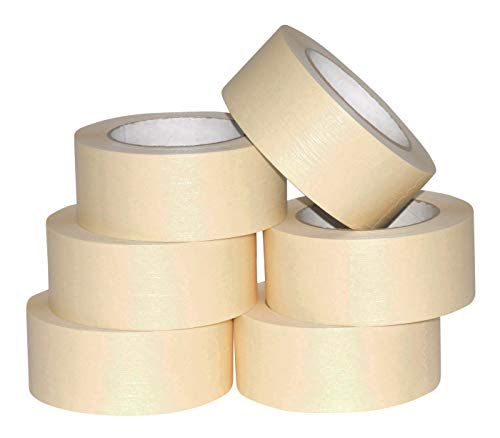 General Purpose Roll - JAK Industrial 6 Rolls - 2 Inch Masking Tape for General Purpose/Painting - 60 Yards per roll