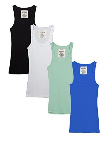 2d921e89cfecad Zenana Outfitters Womens Basic Ribbed Tank Top BLACK WHITE AQUA BBLUE S