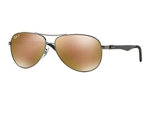 (Ray-Ban RB8313 Carbon Fibre Sunglasses Shiny Gunmetal / Brown Mirror Gold Polarized 61mm)