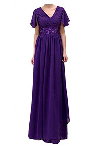 Toscana sposa general-case poposh Chiffon vestimento breve manica lunga serata madre festa ball abiti da sposa viola 52