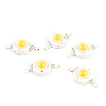 5 PC caliente de la lámpara de la luz blanca del grano de la viruta del LED de la lámpara 3.0-3.6V 350mA 1 Watt - - Amazon.com