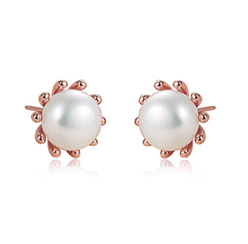 Pearl Daisy Earrings - Rakumi Daisy Earrings Sterling Silver Rose-gold White Freshwater Pearl Studs Earrings