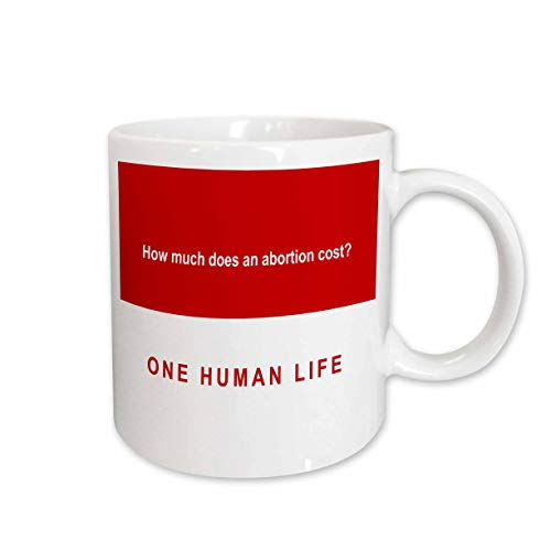 3dRose Mark Andrews ZeGear Spiritual - How Much Does Abortion Cost on Red Background - 15oz Mug (mug_60813_2)