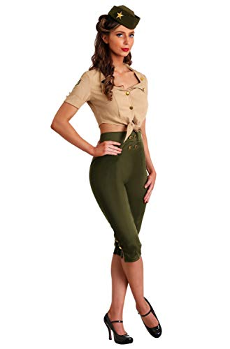 Vintage Pin Up Soldier Women's Costume X-Small Green ()