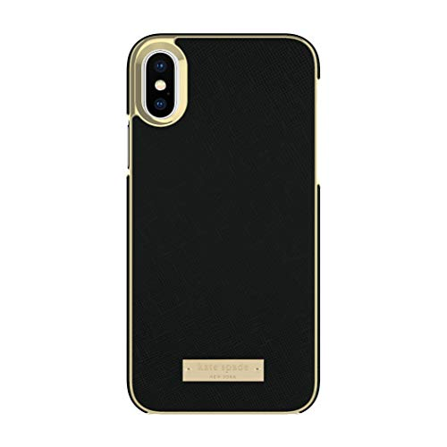 Incipio Technologies KSIPH-081-BLK kate spade new york Cell Phone Case for iPhone X - Saffiano Black/Gold Logo Plate
