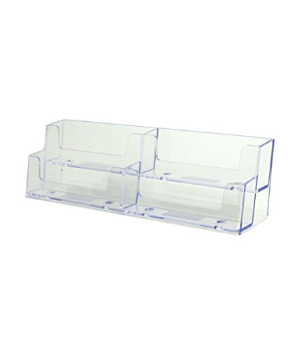 Source One Deluxe 4 Pocket 2 Tier Clear Business Card Holder Acrylic (XDEEP4PCLBC) - 4 Tier Card Holder