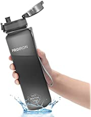 PROIRON Running Water Bottle BPA Free, Bike Water Bottle, Leak Proof Sports Water Bottles for Gym Runners Cycling, Drink Bottle 1L or 500ml with Flip Top Lid, Filter & Protein Shaker Included