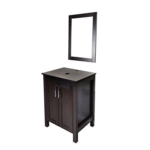 - 24 Inches Bathroom Vanity, Modern Stand Pedestal Cabinet, Wood Dark Coffee Fixture, with Mirror & 2 Doors (Vessel Sink not Include)