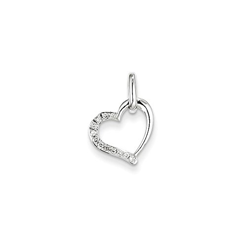 Roy Rose Jewelry 14K White Gold 0.08-Carat tw Diamond Heart Pendant (Ct Tw 0.08 Heart)