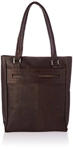 Piel Leather Vertical Laptop Tote, Chocolate, One (Laptop Tote Chocolate)