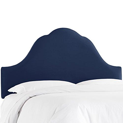 Arched Velvet Upholstered Headboard (Skyline Furniture Arched Headboard, Velvet Navy, Queen)