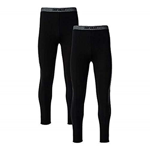 32 DEGREES Mens 2 Pack Heat Performance Thermal Baselayer Pant Leggings, Black/Black, L