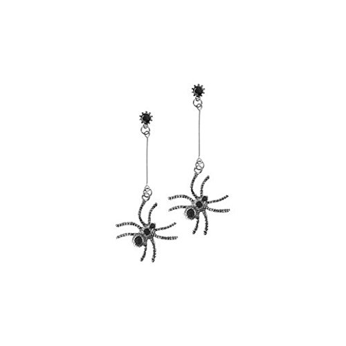 [Vintage Charm Halloween Black Spider Drop Earrings] (Jigsaw Costume Face Paint)