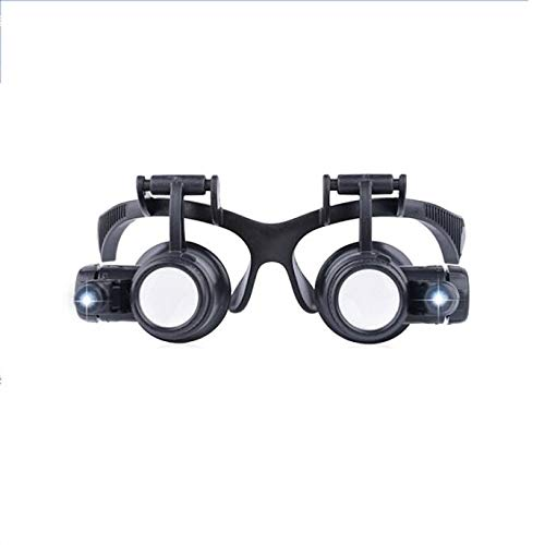 ZHJY JWDP Glasses-Type Magnifying Glass Watch Repair with Led Lights Double-Eye Mask Magnifying Glass Stamp Identification