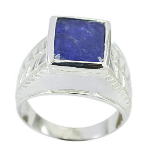 wholesales 925 Sterling Silver Charming Natural Blue Ring, Indian Shappire Blue Gems Silver Ring from RIYO