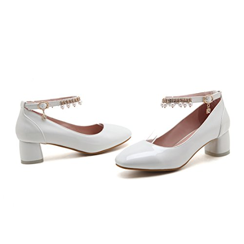 AIYOUMEI Damen Blockabsatz Knöchelriemchen Pumps mit 5cm Absatz und Perlen Chunky Heel Bequem Schuhe Weiß