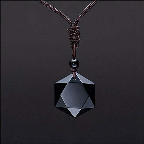 New Womens David Star Hexagram Shape Black Stone Pendant Necklace Jewelry