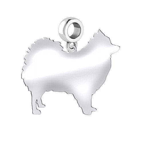 Pomeranian Dog Charm | Pomeranian Silhouette Charm | Fits All European Style Bracelets | Sterling - Dog Pomeranian Charm