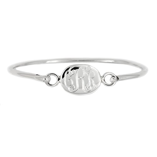Sterling Silver Engravable Oval Bangle Bracelet for Infant or Toddler