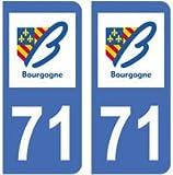 2 autocollants 71 Saône et Loire Bourgogne plaque immatriculation département auto 71 : angles arrondis
