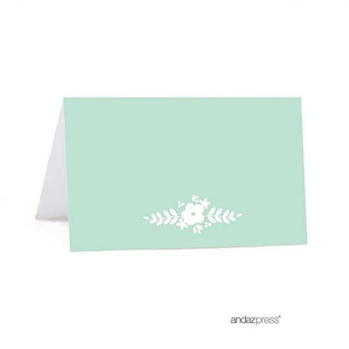 Andaz Press Floral Mint Green Wedding Collection, Printable Table Tent Place Cards, 20-Pack