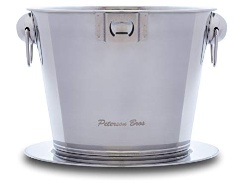 Champagne Bucket Ice Cooler Stainless Steel Chiller with Luxury Chrome Plate Premium Large Decorative Wine Bottle Clear Party Tub Pool Drink Bar Ware for Beer Juice Beverage by Peterson Bros