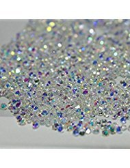 2880Pcs Ultra Mini 1.2mm Diamond Shining Diy Rhinestones Iridescent Crystals Need Glue Phone & Nail Art Decoration Ab Clear + Clear (2 (Nails Cell Phones)