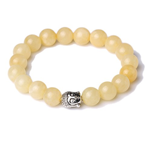 [JDZ Amulets Yellow Jade 10mm Beaded Elastic Stretch Stone Bracelet Buddha Mala Energy Bracelet] (Yellow Jade Beaded Bracelet)
