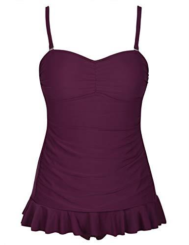 Bandeau Hem (Firpearl Women's One Piece Swimsuit Ruffle Hem Swimdress Ruched Skirted Bathing Suit 10 Burgundy)