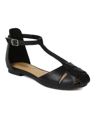 Breckelles BA83 Women Leatherette Strappy Gladiator T-Strap Flat Sandal - Black (Size: 6.0)