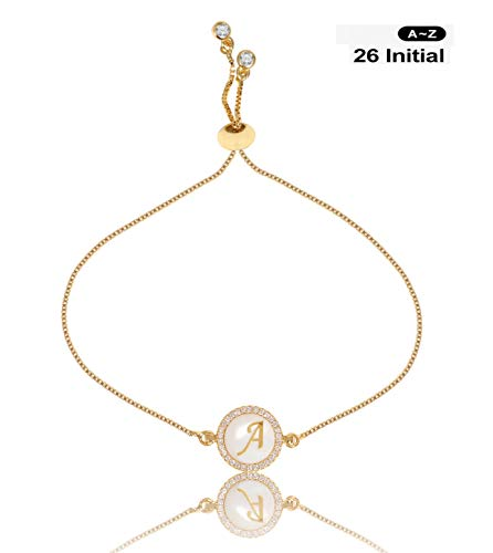 CILILI Design 26 Alphabet Charms Initial Shell Letters with White Rhinestones Snake Chain Bracelet for Women Girls Adjustable (Gold, A)