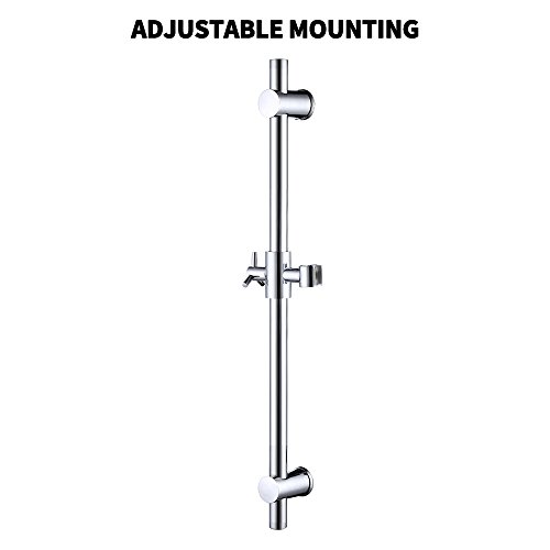 Height Set Adjustable Arm (KES F203 Stainless Steel Slide Bars with All Brass Handheld Shower Bracket Height and Angle Adjustable, Polished Steel)