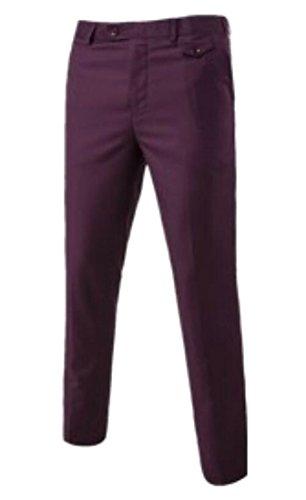 X-Future Mens Stylish Expandable Waist Straight Slim Fit Classic Dress Pants 1 XS (Plain Week Front Pants)
