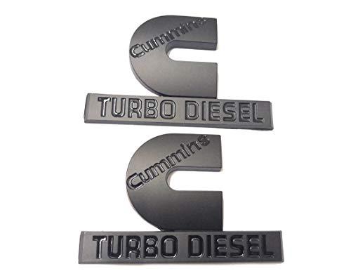 2pcs (small size) Cummins Turbo Diesel Emblems,3D Badge High Output Replacement for RAM 2500 3500 Fender Emblem Matte Black