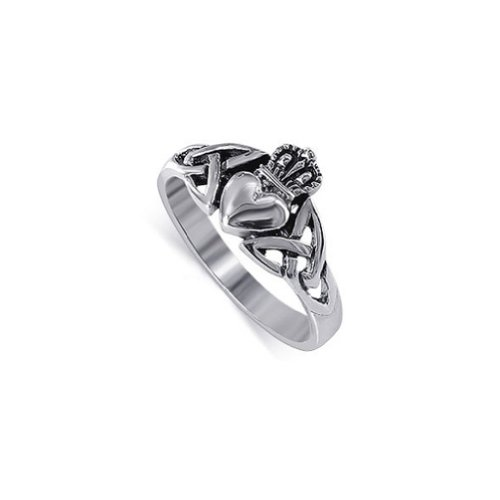 Gem Avenue 925 Sterling Silver Heart Friendship and Love Irish Celtic Knot Claddagh Ring