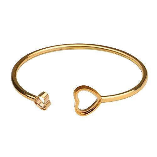 art Cuff Bangle Bracelet Gold Plated for Women, Simple Double Love Heart Expandable StackableOpen Bracelet Gift for Women Girl, Fit Most Wrist ()