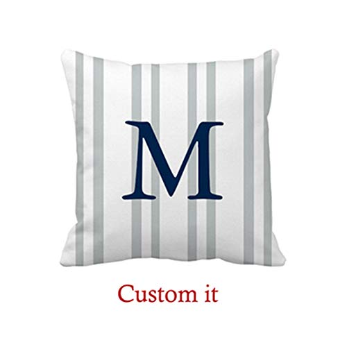 Goldaisy Gray Striped Monogrammed Pillow Cover - Customizable